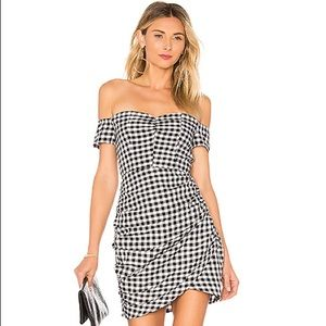 by the way. gingham off the shoulder dress